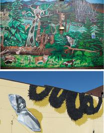 Top: Robin Corbo, BARK Mural, detail (2011) 4601 SE Powell Bottom: Gage Hamilton, DeSoto Detached (2014) 720 NW Couch