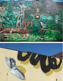 (Top) Robin Corbo, BARK Mural, detail (2011) 4601 SE Powell; (Bottom) Gage Hamilton, DeSoto Detached (2014) 720 NW Couch
