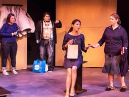 Milagro Theater is one of sixteen organizations receiving AEAF proceeds this month. Opcion Multiple runs through February 28th. (Photo by Russell J. Young)