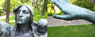 Oxidation of Sacajawea's bronze surface is beginning to take hold on the hand and face.