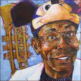 """The image above is a portrait of Reeves that Seemel completed in 2007 -- it is not the design for the mural but it does illustrate Seemel's trademark style:The note is the winding path it takes (Kirk Reeves), 2007, acrylic on canvas, 24"""" x 24."""""""