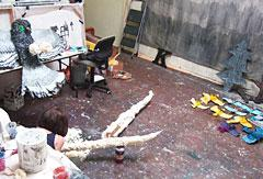"""Artist Kendra Larson at work in her studio on """"Aviary"""", an installation for the Portland Building."""