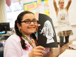 A Hillsboro 5th grader creates a self-portrait, connecting printmaking and writing to a social justice-based study of the Declaration of Independence with The Right Brain Initiative. (Photo by Frank Hunt)