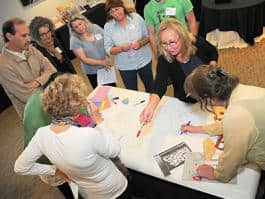 Local and national educators participate in a collaborative assignment at Imagine This! (Photo by Allie Maki Maya)