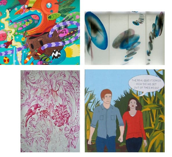 Clockwise from upper left: Ten Hundred, mural in Buzios, Brazil, 2015; Ellen George, Bloom, 2008; Sam Marroquin, Where Are We?, 2015; Arielle Adkin, Peony Parrot, 2014