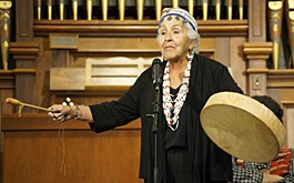 Wisdom of the Elders,Inc. was awarded an Arts Equity Grant to produce a documentary and radio series.  Esther Stutzman (Komemma Kalapuya,Coos) (pictured) participated in one of their storytelling festivals last year, funded in part by RACC.