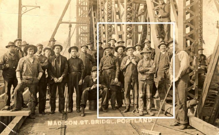 A Portland Archives photo of the Hawthorne Bridge work crew in 1910 is the source material Benz & Chang draw upon for their installation at the Portland Building.