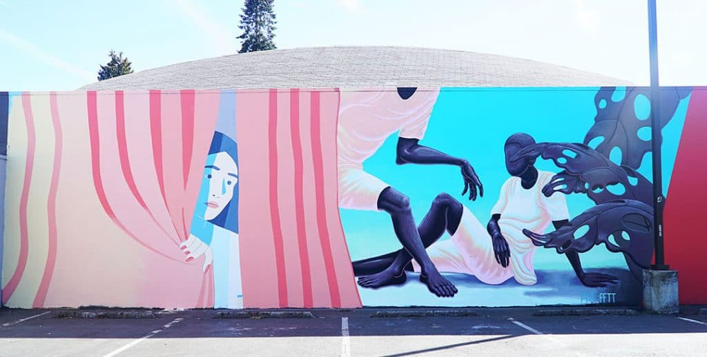 Mural by Molly Bounds and Alex Gardner at Disjecta, N. Interstate.