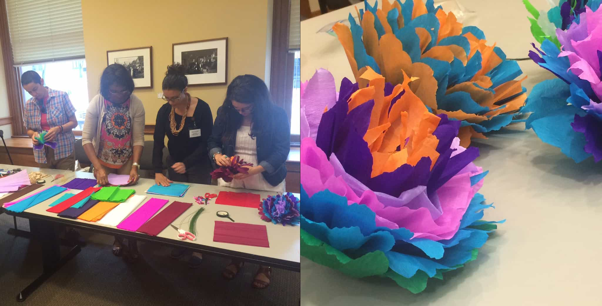 Meticulously crafted paper flowers will be incorporated into the Unidos Latinos Americanos  Día de los Muertos installation at the Portland Building October 19 – November 4.