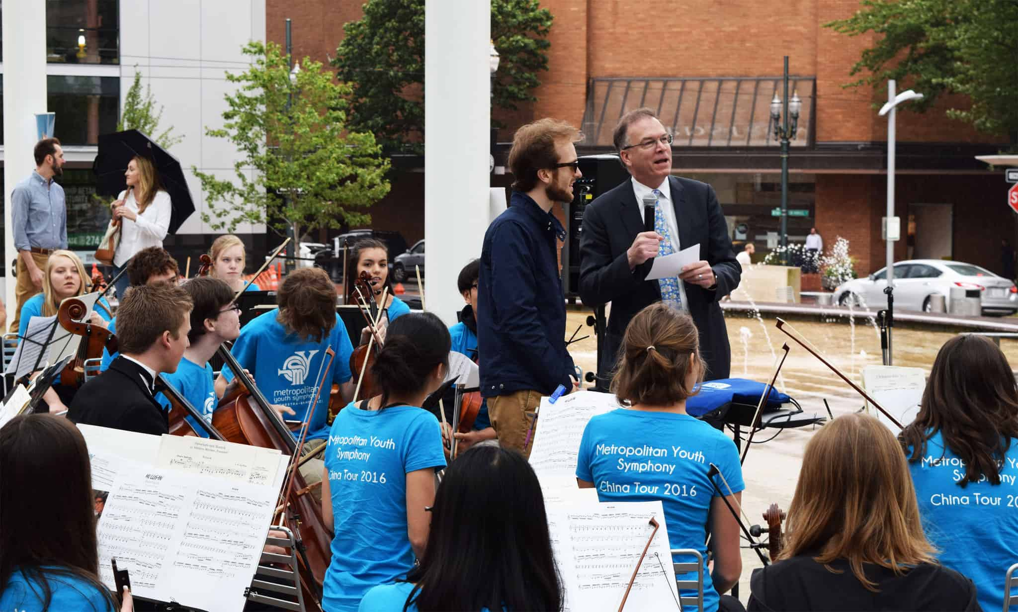 Commissioner Nick Fish at a the Metropolitan Youth Symphony concert in downtown Portland.