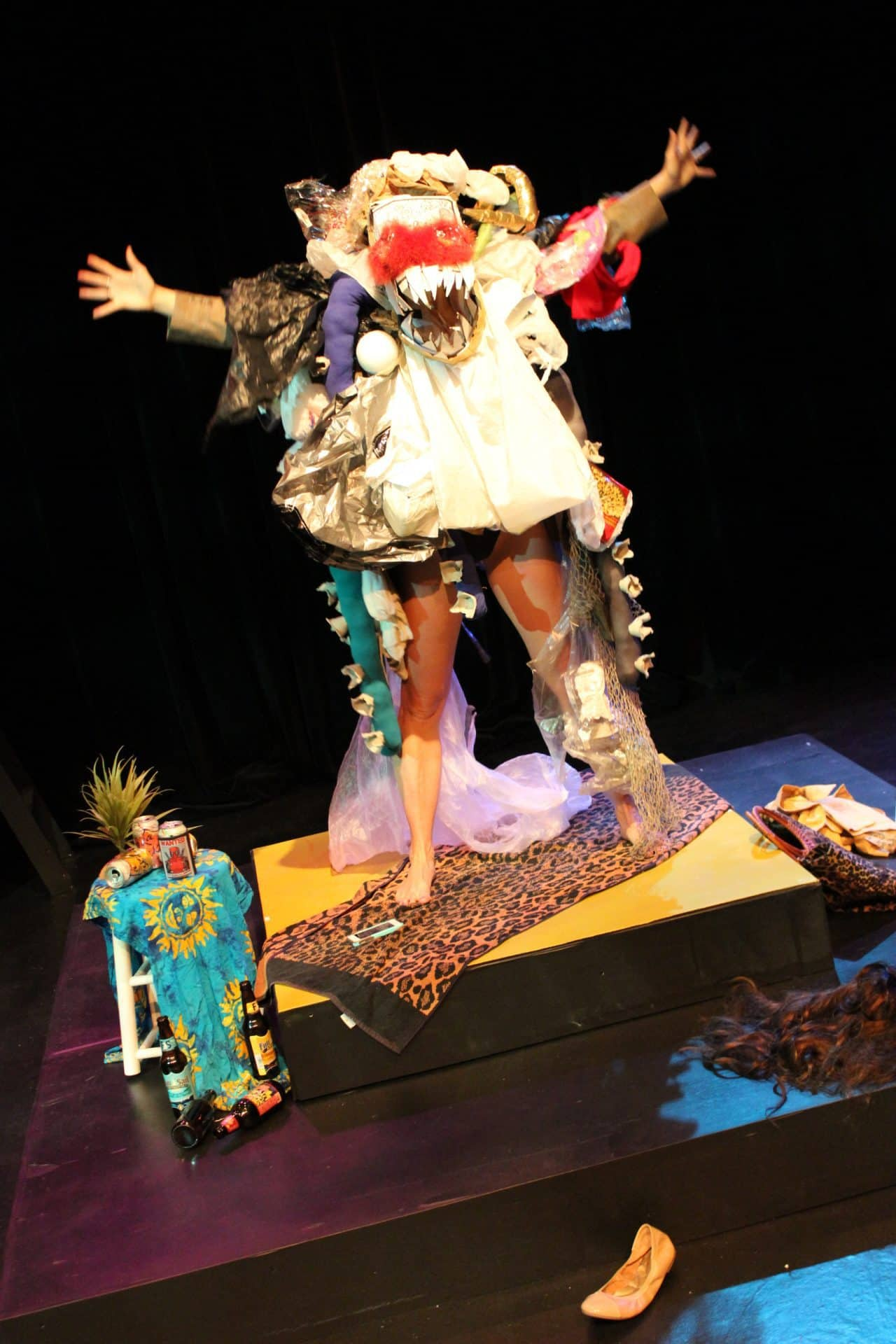 Photograph of Julia Bray in costume on stage
