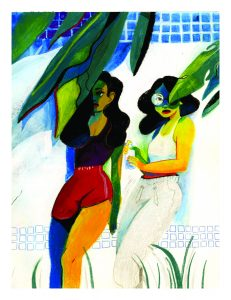 Molly's illustration depicting two women standing next to each other under the shade. Art courtesy of Molly Mendoza