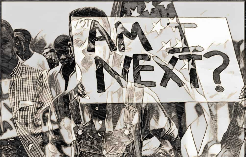 Black and white watercolor painting of a teen-aged black youth standing behind a sign that says