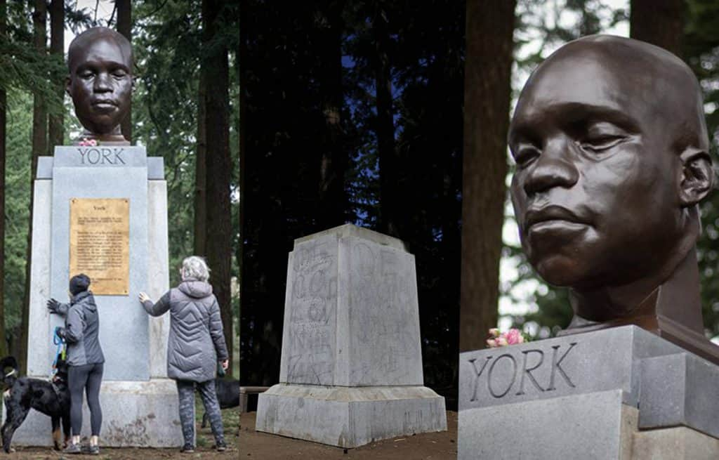 Three photos of the granit pedestal; one with people touching and reading the plaque, one without the artwork and one with the bronze head of Yorkrtwork atop a granite pedestal surrounded by tall fir trees.
